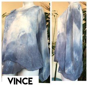 Vince silk sequin long sleeve blouse